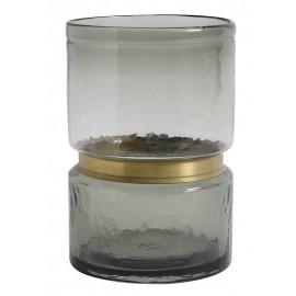 nordal ring vase verre souffle gris bande doree