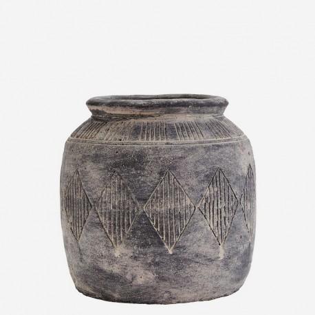 madam stoltz vase cache pot en ciment antique brocante sy8934s. Black Bedroom Furniture Sets. Home Design Ideas