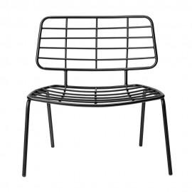 Fauteuil assise basse design métal noir Bloomingville Mesh