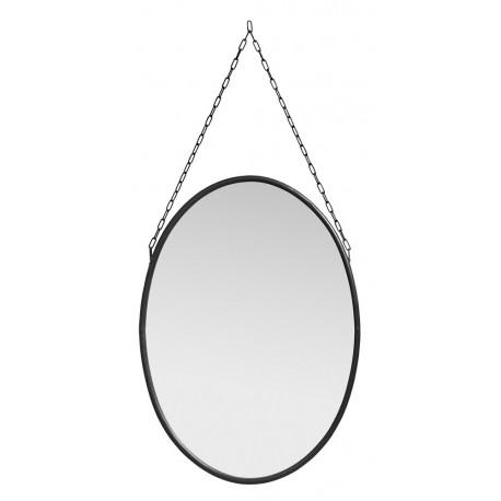 Ovaler spiegel vintage schwarz metall mit kette nordal - Spiegel mit kette ...