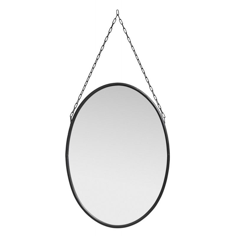 nordal miroir ovale vintage metal noir avec chaine 15740. Black Bedroom Furniture Sets. Home Design Ideas