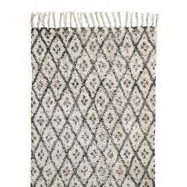Tapis long noir blanc motifs losanges Nordal 110 x 170 cm