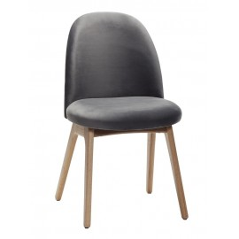 Chaise scandinave velours gris bois de chêne Hübsch
