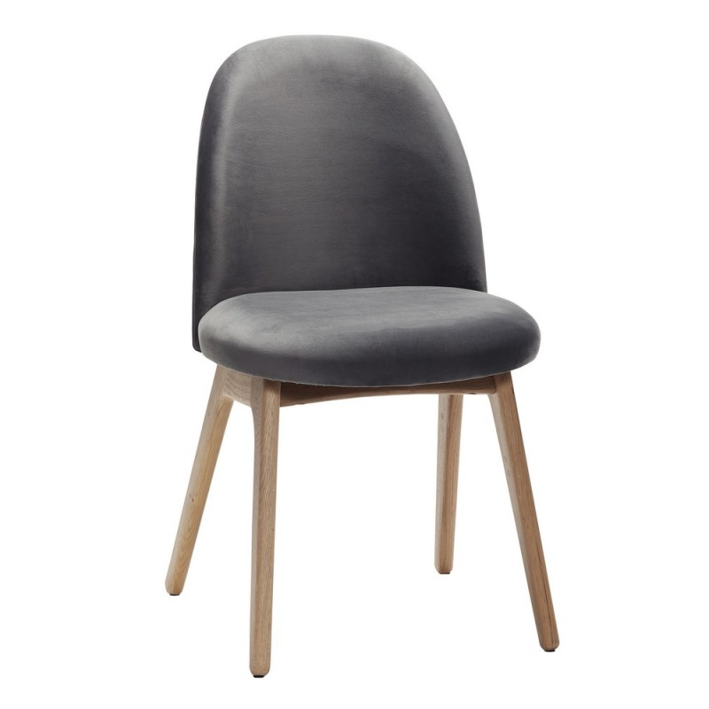 hubsch chaise scandinave grise velours bois de chene 100607. Black Bedroom Furniture Sets. Home Design Ideas