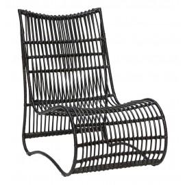 Fauteuil lounge assise basse rotin noir Hübsch