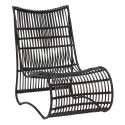 hubsch fauteuil lounge assise basse rotin noir