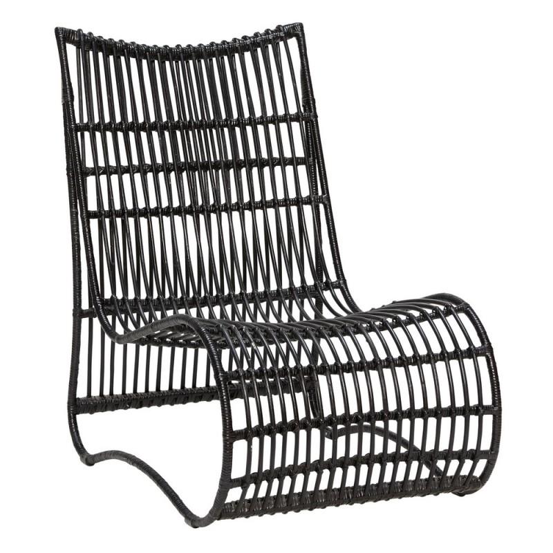 hubsch fauteuil lounge assise basse rotin noir 310308. Black Bedroom Furniture Sets. Home Design Ideas