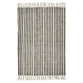 Tapis coton délavé rayures noir blanc Nordal