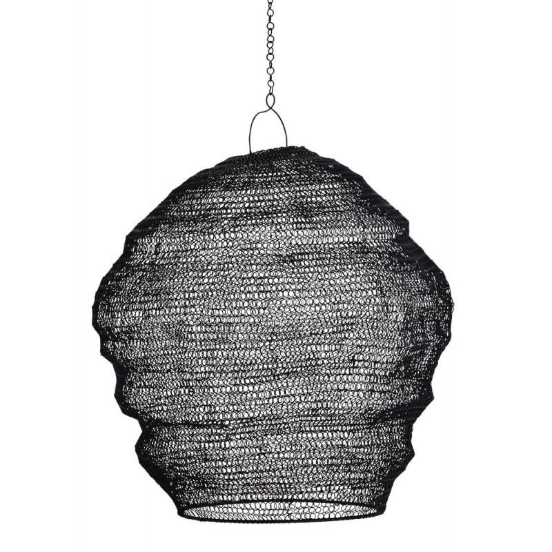 madam stoltz abat jour suspension fil de fer noir tresse 17371bl. Black Bedroom Furniture Sets. Home Design Ideas