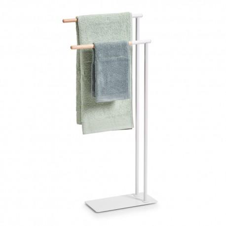 Porte-serviette à poser métal blanc bois de hévéa Zeller