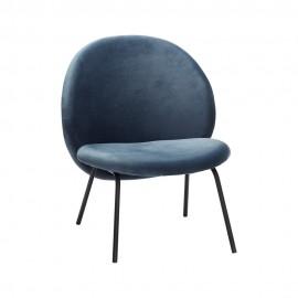 Fauteuil design métal noir velours bleu Hübsch