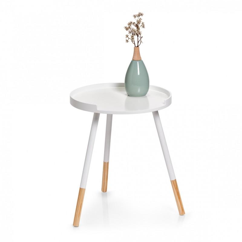 petite table basse ronde bois blanc zeller 17006. Black Bedroom Furniture Sets. Home Design Ideas