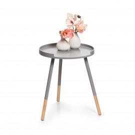 Petite table basse ronde grise bois Zeller