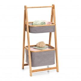 Rangement bois bambou 2 paniers suspendus tissu Zeller