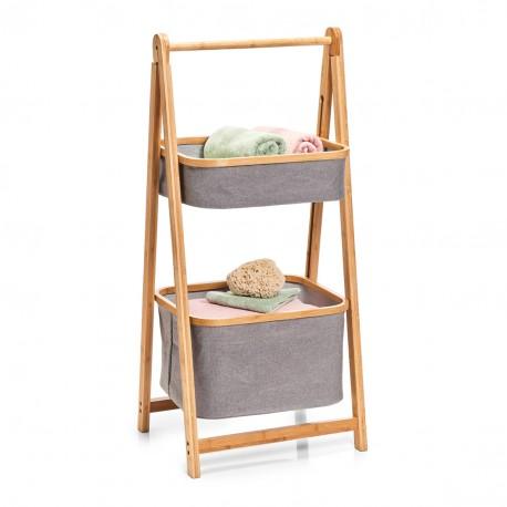rangement en bois de bambou 2 paniers suspendus tissu zeller