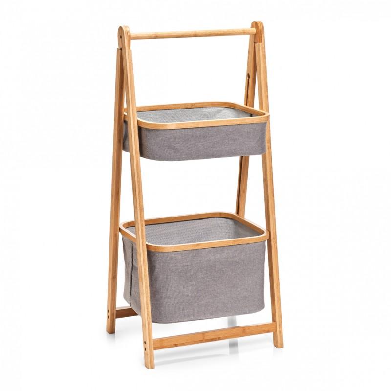 rangement en bois de bambou 2 paniers suspendus tissu zeller. Black Bedroom Furniture Sets. Home Design Ideas