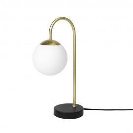 Lampe de table rétro boule blanche laiton Broste Copenhagen Caspa