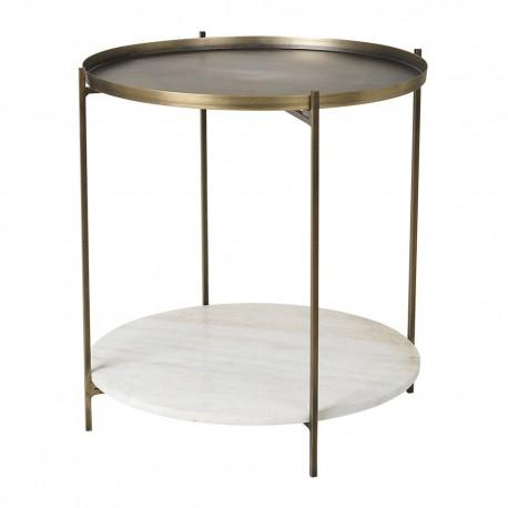 broste copenhagen tristan table d appoint ronde double niveau marbre blanc laiton
