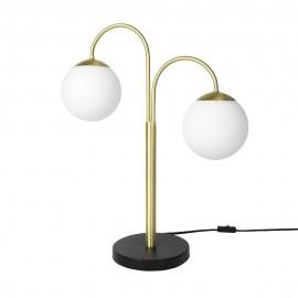 Lampe de table art déco bras 2 boules blanches métal laiton Broste Copenhagen Caspa 2