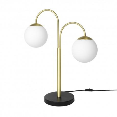 broste copenhagen caspa 2 lampe de table art deco bras laiton boules blanches