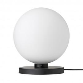 Lampe de table boule blanche métal noir Broste Copenhagen Caspa