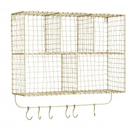 Étagère murale métal filaire doré laiton crochets patères Madam Stoltz