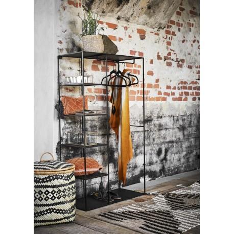 Penderie ouverte design métal noir 5 étagères Madam Stoltz Wardrobe