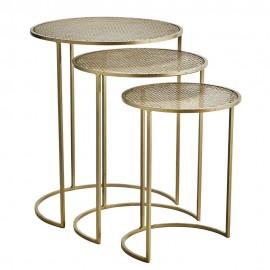 3 tables basses gigognes rondes métal doré laiton Madam Stoltz