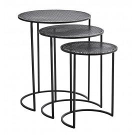 3 tables basses gigognes rondes métal noir Madam Stoltz