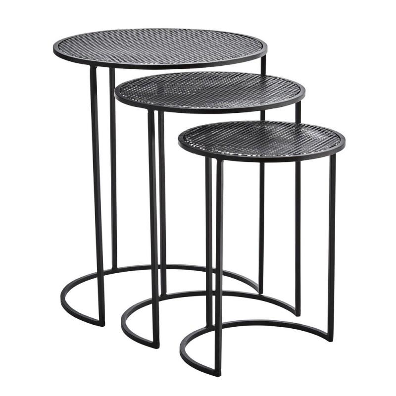 3 tables basses gigognes rondes metal noir madam stoltz. Black Bedroom Furniture Sets. Home Design Ideas