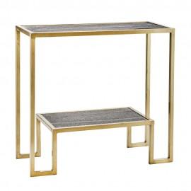 etagere console metal dore laiton marbre gris madam stoltz
