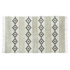 madam stoltz tapis coton blanc ecru noir motifs esprit berbere franges