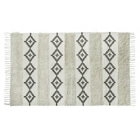 Tapis coton blanc écru gris motifs esprit berbère franges Madam Stoltz 120 x 180 cm