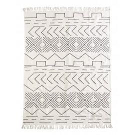 Tapis coton blanc écru noir motifs géométriques Madam Stoltz 160 x 230 cm