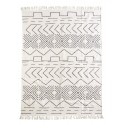 tapis madam stoltz coton blanc ecru noir motifs geometriques