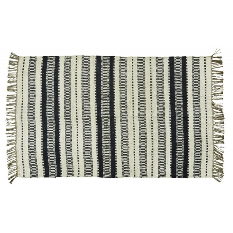 tapis rayures noir blanc ecru jute madam stoltz 120 x 180 cm ...