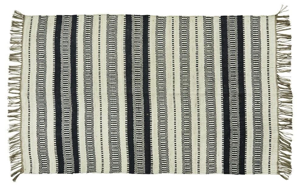 tapis rayures noir blanc ecru jute madam stoltz 120 x 180 cm - Kdesign