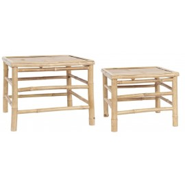 set de 2 tables basses carrees bois bambou ib laursen