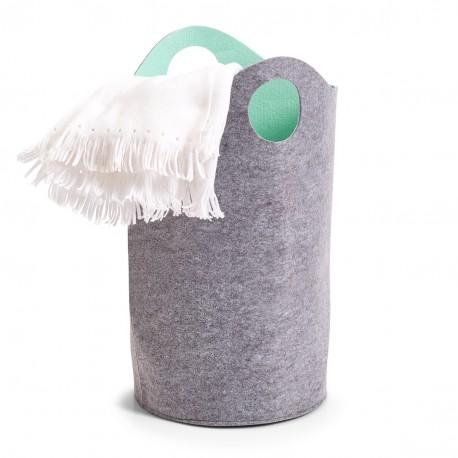 panier a linge en feutrine gris aqua zeller