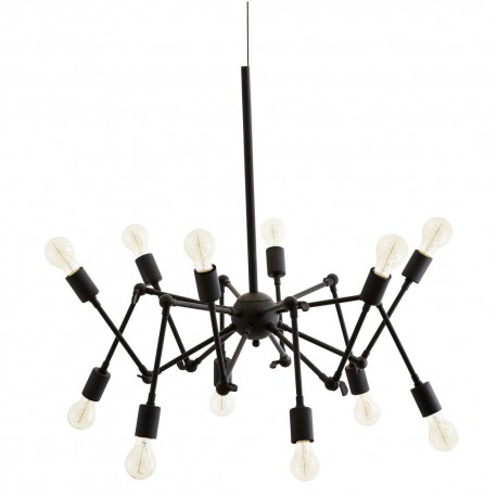 suspension industrielle multiple 12 ampoules metal noir madam stoltz