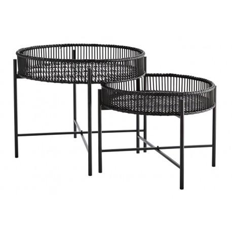 madam stoltz tables basses rondes gigognes bambou noir metal