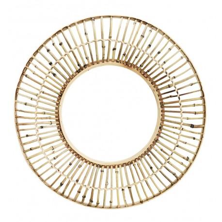 madam stoltz miroir mural rond soleil bois bambou