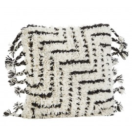 Housse de coussin franges laine blanc noir Madam Stoltz 50 x 50 cm