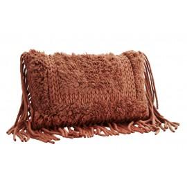 Housse de coussin laine franges rouge paprika Madam Stoltz 40 x 60 cm