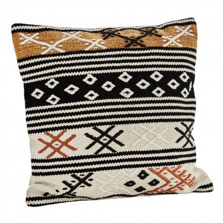 madam stoltz housse de coussin ethnique carre coton orange 50 x 50 cm