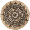 tapis jute rond noir nature ib laursen rosette d 100 cm