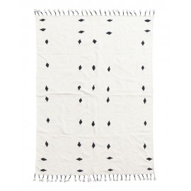 Tapis coton triangles noirs House Doctor Backside écru