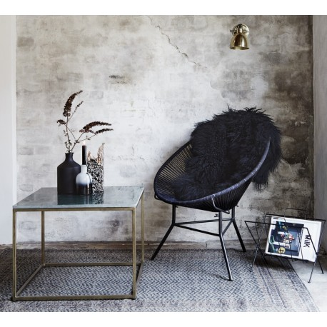 madam stoltz table basse carree plateau marbre blanc laiton E006WBRS