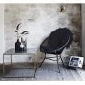 Table basse carrée plateau marbre blanc laiton antique Madam Stoltz