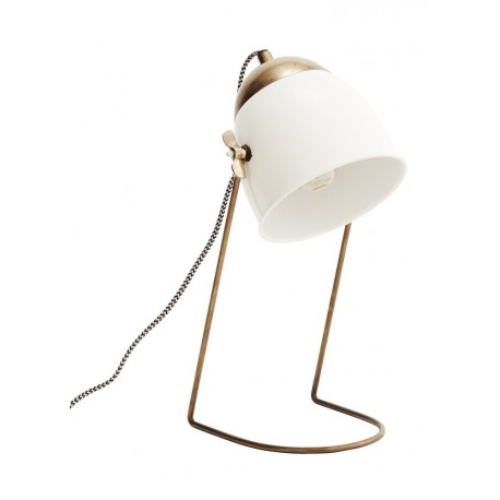 Lampe de bureau rétro métal blanc laiton Madam Stoltz